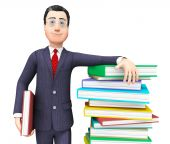 Businessman With Information Represents Textbook Knowledge And Train — Stock Photo