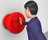 Businessman Pushes Button Represents Get Going And Activate — Stock Photo