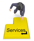 Businessman Selecting Services Shows Help Desk And Biz — Stockfoto