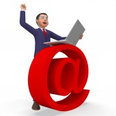 Email Sign Indicates Business Man And Biz — Stockfoto