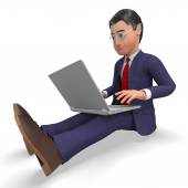 Businessman Typing Means World Wide Web And Biz — Stockfoto