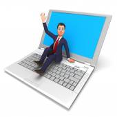 Businessman On Laptop Means World Wide Web And Biz — Stockfoto