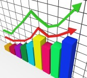 Graph Increasing Represents Marketing Profitable And Improve — Stock Photo