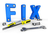 Fix Word Means Mends Mend And Maintenance — Stock Photo