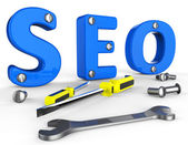 Search Engine Optimization Indicates Gathering Data And Information — Stock Photo