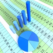 Report Graph Shows Financial Profit And Information — Stock Photo