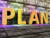 Plan Word Indicates Proposal Mission And Tasks — Stock Photo