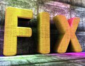 Fix uttrycka indikerar att upprätthålla lagade och lagning — Stockfoto