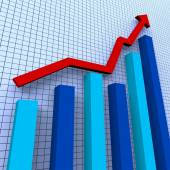 Increasing Graph Means Progress Report And Advance — Stock Photo