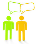 People Communicating Shows Speaking Persons And Communication — Stock Photo