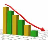 Decreasing Report Shows Graphic Analysis And Graphs — Stock Photo