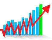 Increasing Graph Shows Financial Report And Advance — Stock Photo