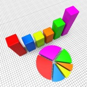 Pie Chart Shows Business Graph And Charting — Stock Photo