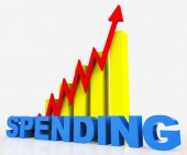 Increase Spending Indicates Progress Report And Diagram — Stock Photo