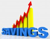 Increase Savings Means Progress Report And Advance — Stock Photo