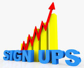 Increase Sign Ups Represents Improvement Plan And Advance — Stock Photo