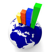 Increase Graph Worldwide Shows Graphics Globe And Statistic — Stock Photo