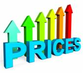 Prices Increase Represents Financial Report And Diagram — Stock Photo