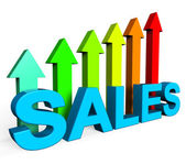 Sales Increasing Indicates Progress Report And Data — Stock Photo