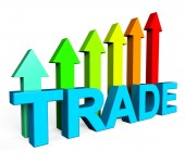 Trade Increasing Indicates Business Graph And Biz — Stock Photo