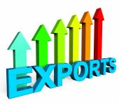 Exports Increasing Shows International Selling And Exportation — Stock Photo