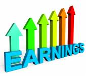 Earnings Increasing Indicates Business Graph And Diagram — Stock Photo