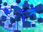 Interconnected Network Represents Global Communications And Conn — Stock Photo