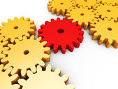 Connection Interconnected Shows Team Work And Cogs — Stock Photo