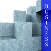 Business Blocks Design Means Building Activity And Construction — Stock Photo