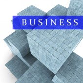 Business Blocks Design Represents Building Activity And Commercial — Stock Photo