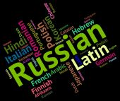 Russian Language Means Foreign Wordcloud And Text — Fotografia Stock