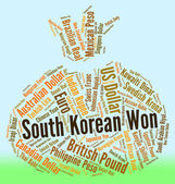 South Korean Won Means Foreign Exchange And Coinage — Stock Photo