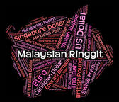 Malaysian Ringgit Means Exchange Rate And Foreign — Stock Photo