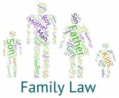Family Law Shows Blood Relative And Court — Stock Photo