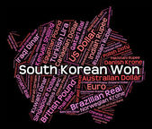 South Korean Won Means Forex Trading And Currency — Stock Photo