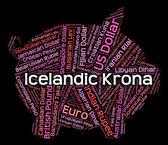 Icelandic Krona Shows Worldwide Trading And Exchange — Stock Photo