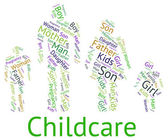 Childcare Word Represents Looking After And Babysitting — Stock Photo