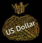 Us Dollar Indicates Currency Exchange And Coin — Stock Photo