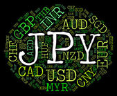 Jpy Currency Shows Japan Yen And Broker — Stock Photo