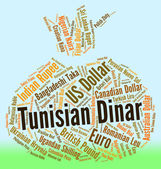 Tunisian Dinar Indicates Exchange Rate And Banknotes — Stock Photo