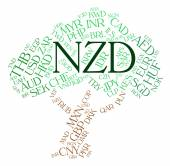 Nzd Currency Indicates New Zealand Dollar And Banknote — Stock Photo