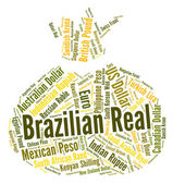 Brazilian Real Represents Worldwide Trading And Currency — Stock Photo