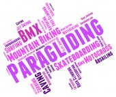 Paragliding Word Represents Words Paraglide And Text — Stock Photo