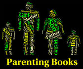 Parenting Books Indicates Mother And Child And Father — Fotografia Stock