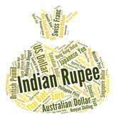 Indian Rupee Shows Currency Exchange And Currencies — Stock Photo