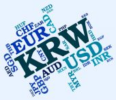Krw Currency Represents South Korean Wons And Banknote — Stock Photo