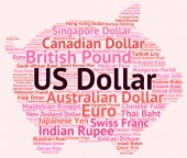 Us Dollar Means Foreign Exchange And American — Stock Photo