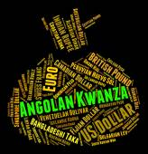 Angolan Kwanza Indicates Exchange Rate And Coin — Stock Photo