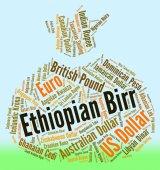 Ethiopian Birr Represents Foreign Exchange And Birrs — Stock Photo