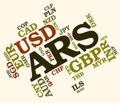 Ars Currency Indicates Argentine Peso And Banknotes — Stock Photo